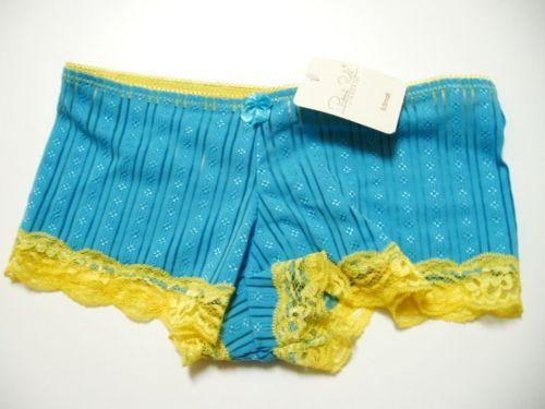 X198 Rene Rofe NEW Blue/Gold Striped Stretch Sleek Lace Microfiber Boyshort S PR