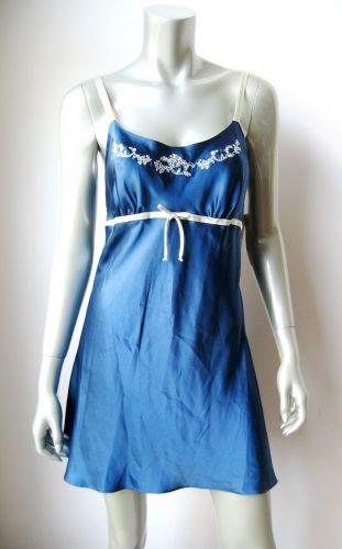 IN003 Jones New York NEW 1J217C White Embroidery Trim Blue Satin Essentials Chemise L