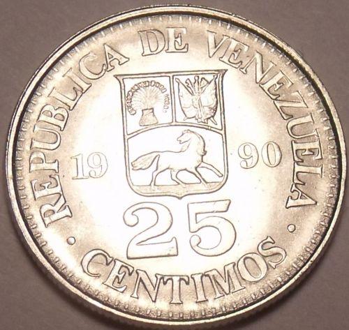 Gem Unc Venezuela 1990mm 25 Centimos~Simon Bolivar~Last Year Ever~Free Shipping
