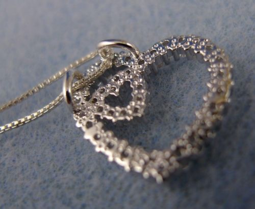 Sterling Heart in Heart Pendant : Silver & Sparkling CZs - NO CHAIN