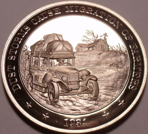 1934~DUST STORM IN THE GREAT PLAINS~GOLD RESERVE~PENSION PLAN~BRONZE~FREE SHIP~