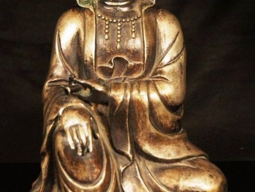 ANTIQUE 19TH CENTURY CHINESE BRONZE SEATED GUANYIN