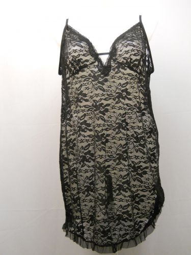Secret Treasures Women's Floral Lace Chemise Size 3X 22-24 Solid Black Sheer