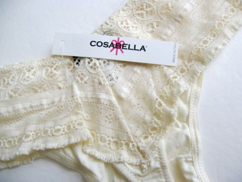 X381 Cosabella NEW AGADI03ZL Ivory Agadir Lace Low Rider Thong M-L Made In Italy