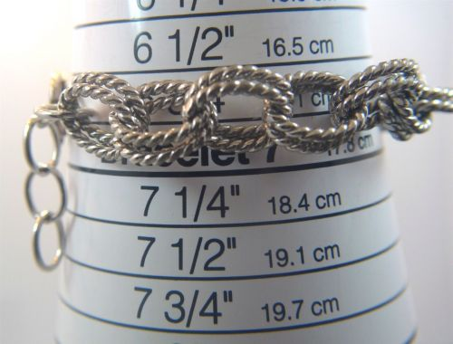 "Sterling Double Twisted Cable Link Up To 7.75"" Bracelet or Charm Bracelet"