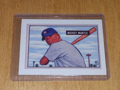 VINTAGE 1989 BOWMAN MICKEY MANTLE YANKEES ROOKIE REPRINT GD-VG