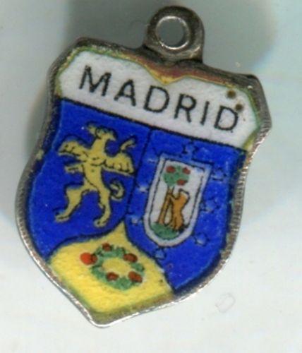 MADRID Enamel & 800 Silver Travel Shield Souvenir Charm