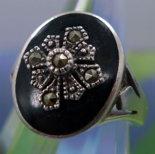 sz 7 Vintage Onyx and Marcasite Signet Ring Sterling Silver Signed Marsala