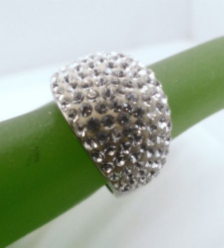 sz 7 Sparkling Pave Dome Ring marked AU and 925 (sterling)