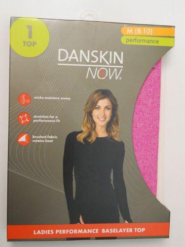 Danskin Now Pink Performance Baselayer Tagless Brushed Crew Neck Top M 8-10