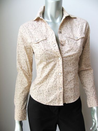 Periscope NEW Junior Beige Stretch Cotton Long Sleeve Button Down Shirt Top S PR