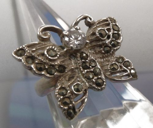 sz 7.5 Butterfly Ring Sterling 925 Silver and Marcasite with CZ Center Stone