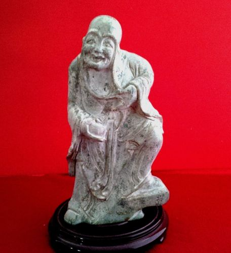 CHINESE CARVED HARDSTONE FIGURE OF A LOHAN