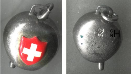 Vintage 800 Silver Swiss Suisse Cow Bell Red Cross Charm w/ Ringer signed CNH