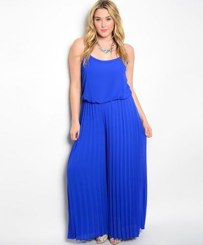 VivaYou Blue Laced Plunging Ruffle Back Pleated Wide Leg Jumpsuit Size 1XL-3XL