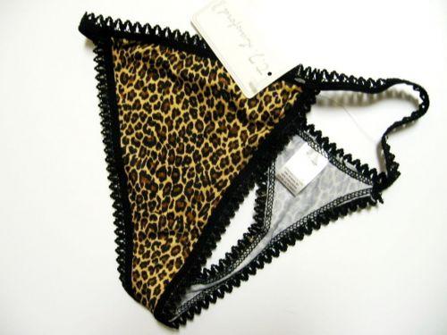 X0164 Lady Princess NEW Black Stretch Cotton Picot Trim Animal Prints Thong PR