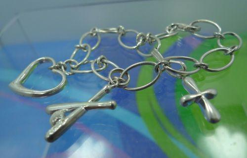 Sterling 925 Silver 3 Charm 6.5 Inch Starter Bracelet DESIGNER QUALITY