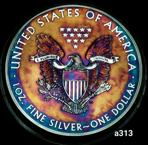 2015 Rainbow Monster Toned Silver American Eagle 1oz fine with velvet case #a313