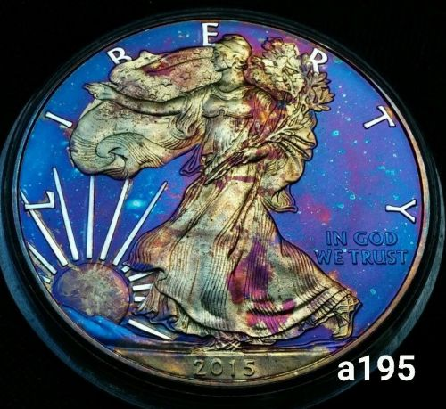 2015 Rainbow Toned Silver American Eagle 1 ounce fine silver uncirculated #a195