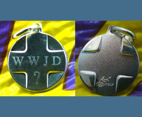 WWJD WHAT WOULD JESUS DO MEDAL / CHARM : STERLING 925 SILVER / ITALY signed
