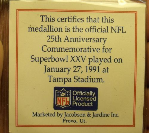 Super Bowl 25 Tampa Official Gem Unc Medallion~Giants Over Bills~COA~Free Ship