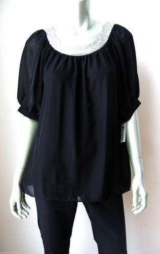 Annalee + Hope NEW Blk Lined Chiffon Silver Sequins Collar Pullover Blouse M PR