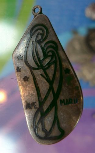 1958 AVE MARIA MEDAL / CHARM : STERLING / TO BEV FROM SISTER GERTRUDE