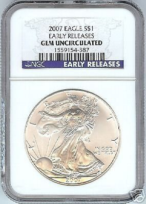 2007 EARLY RELEASE GEM UNC SILVER EAGLE~FREE SHIPPING~