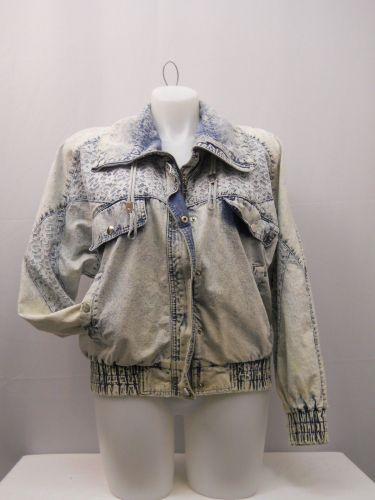 Vintage Denim Jacket Size L East West Women's Long Sleeve Stonewashed Lace Trim