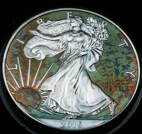2015 Rainbow Toned Silver American Eagle 1 ounce fine silver uncirculated #a287
