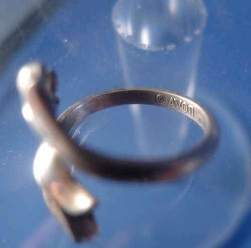 Vintage Adjustible Ring Sterling Avon Collectible Tulip Bypass or Wrap Around