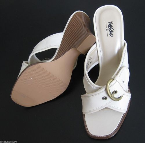Mossimo NEW Ivory Buckled Leather Criss-Cross Slide Wedges Sandals Shoes 8.5 PR