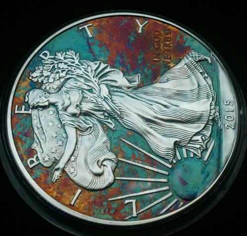 2015 Rainbow Toned Silver American Eagle Coin 1 ounce silver uncirculated #a280