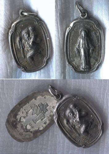 Vintage Hayward Sterling Slide Open Religious Locket St Christopher & Mary Medal