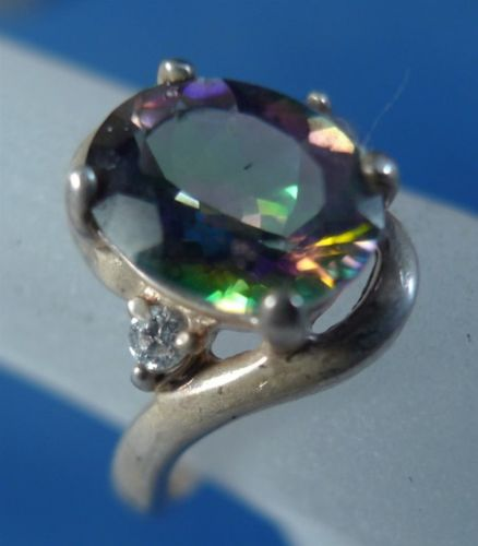 "sz 5 Ring Sterling 10mm Oval Alexandrite or Aurora Mystic Topaz & Baguettes ""A"""