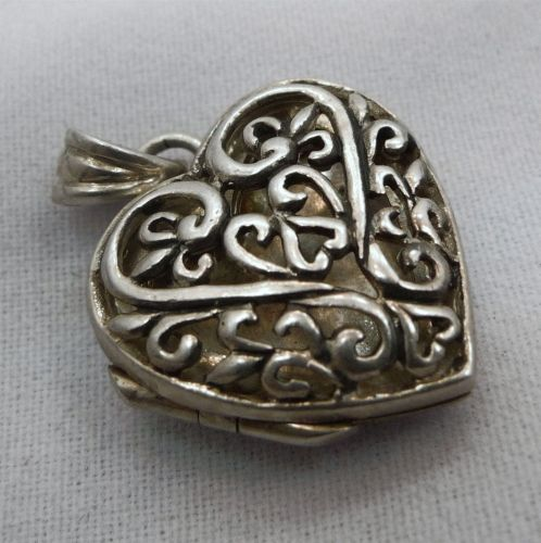 Thick Sterling Filigree Heart Locket Pendant or Charm Signed SU