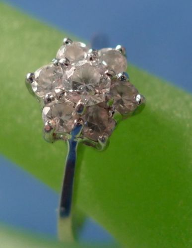 sz 6.5 RING: sterling silver CZ Flower marked CC 925 ©