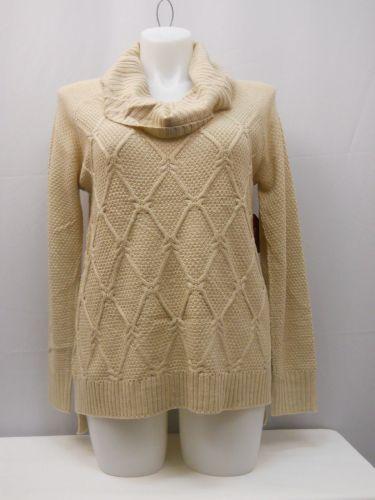 Faded Glory Women's Sweater Size L Medium Diamond Knit Tunic Cowl Neck Oatmeal