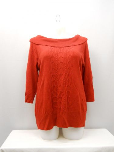PLUS SIZE 1X Women Sweater SAG HARBOR Solid Red 3/4 Sleeve Marilyn Neck Pullover