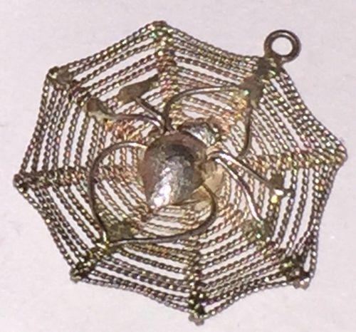 vintage CHARM : SPIDER IN DETAILED FILIGREE WEB : STERLING 925 SILVER