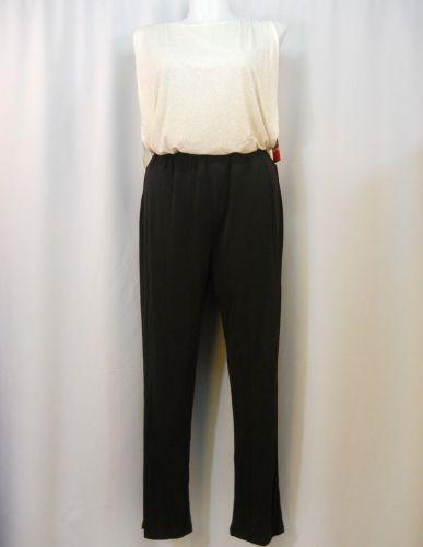 Enfocus Jumpsuit Plus Size 14W Black & Ivory Boat Neck Sleeveless Straight Legs