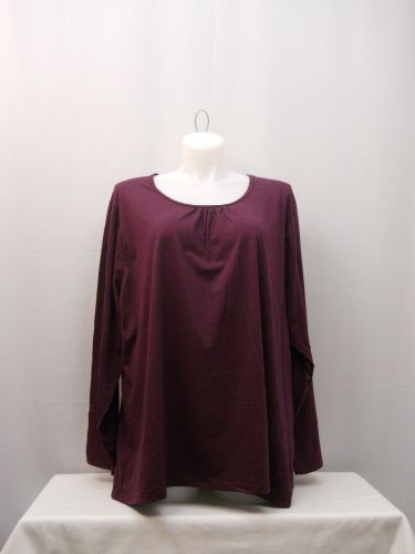 JMS Women's Casual T-Shirt Size 5X Solid Plum Long Sleeves Pleated Crew Neck