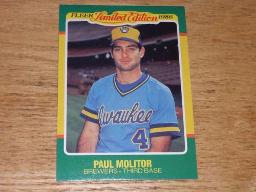 VINTAGE Paul Molitor Milwaukee Brewers 1986 FLLER LIMITED EDITION GLOSSY NMNT