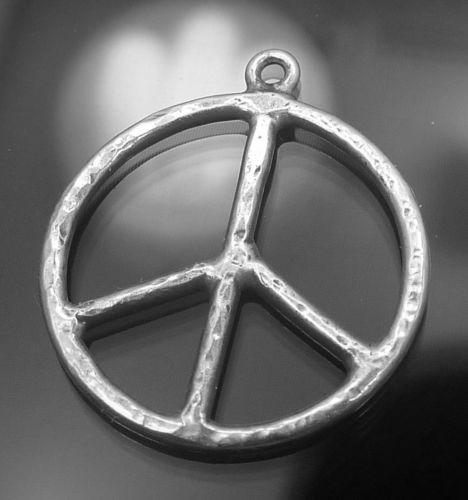CHARM : STERLING 925 SILVER PEACE SIGN signed MK