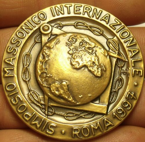 Huge 51.2mm Solid Bronze Grand Orient Rome Italy Masonic Medallion~Fantastic~F/S