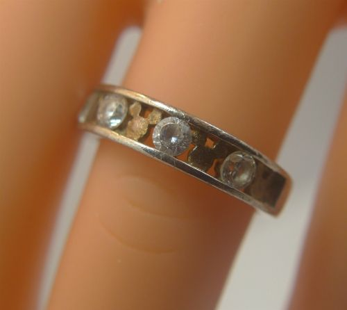 sz 8 Ring : Sterling Silver Mickey Mouse Wedding Band signed Disney CZ