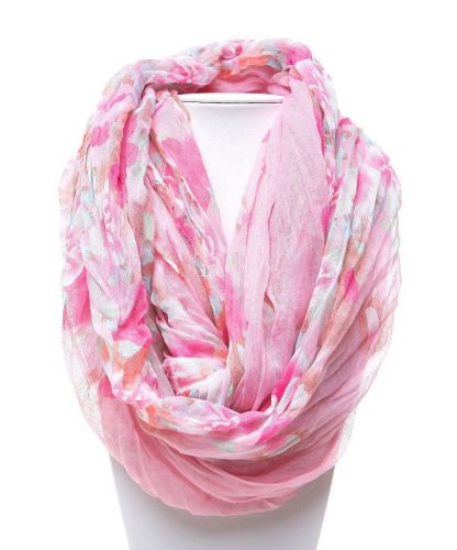 """MarySol Womens Infinity Scarfes Crinkle Floral Multi Color 64""""X 30"""" All Occasion"""