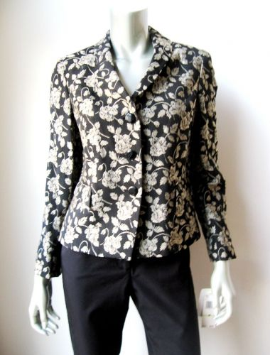 Jones New York NEW Black Tapestry Gold Floral Lined Long Sleeve 3-Button Blazer