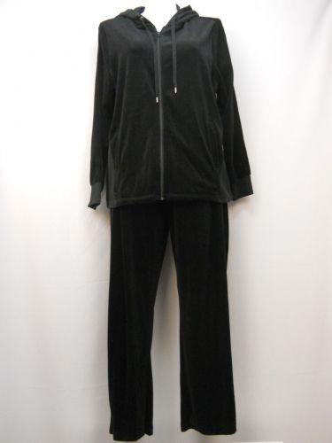 Velocity Women's Tracksuit 2PC Set Black Velour Size 2X Hooded Jacket & Pants