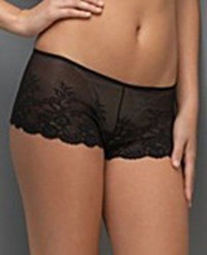 A0131 LE MYSTERE 7465 Women's Emma Sheer Embroidery Lace Boyshort Natural New